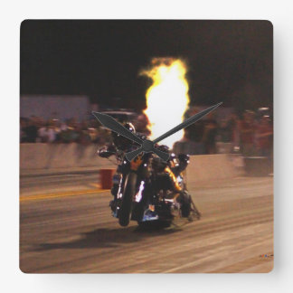 "The ""Fastest Top Fuel Drag Bike on the Planet"" Square Wall Clock"