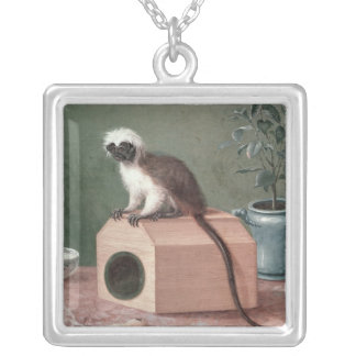 The Favourite Monkey of Carl Linnaeus Square Pendant Necklace