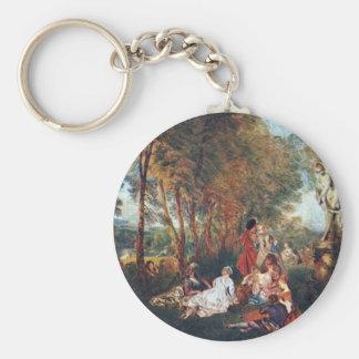 The Feast Of Love By Antoine Watteau Keychain