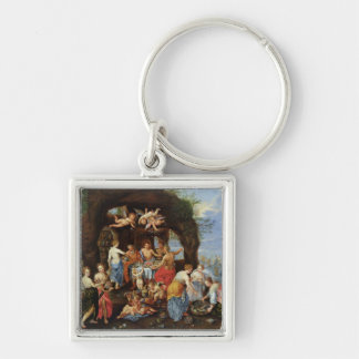 The Feast of the Gods Silver-Colored Square Keychain