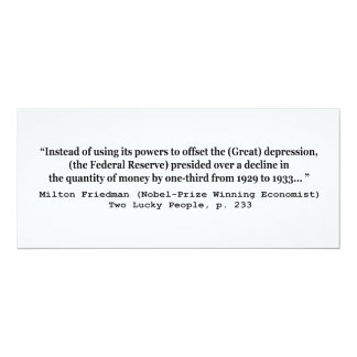 The Federal Reserve & The Great Depression 4x9.25 Paper Invitation Card