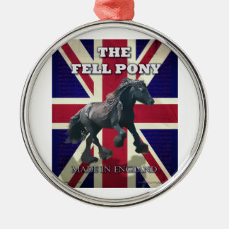 """The Fell Pony -- True Brit -- Made In England"" Round Metal Christmas Ornament"