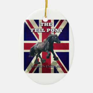 """The Fell Pony -- True Brit -- Made In England"" Double-Sided Oval Ceramic Christmas Ornament"