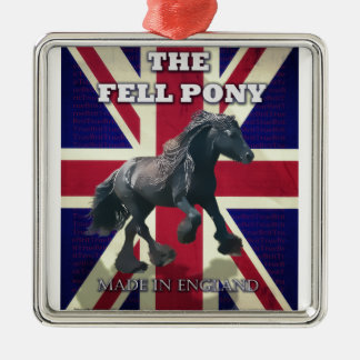 """The Fell Pony -- True Brit -- Made In England"" Square Metal Christmas Ornament"