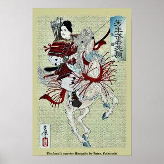 The female warrior Hangaku by Taiso, Yoshitoshi Posters