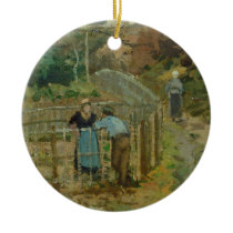 The Fence, 1872 (oil on canvas) Ceramic Ornament