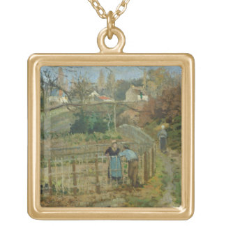 The Fence, 1872 (oil on canvas) Gold Plated Necklace