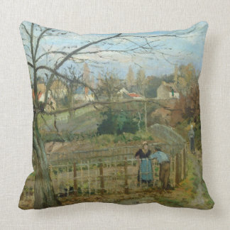 The Fence, 1872 (oil on canvas) Throw Pillow