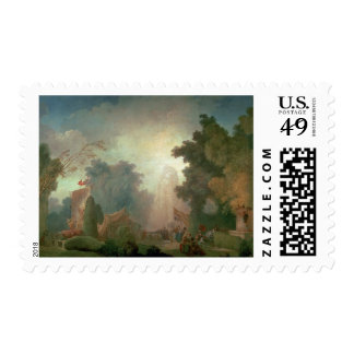 The Fete at Saint-Cloud (oil on canvas) (for detai Stamp