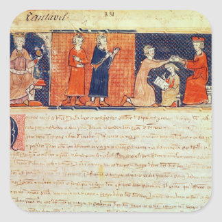 The feudal lord preaching his sermon square sticker