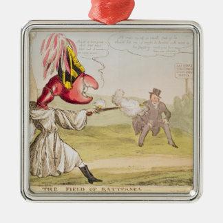 The Field de Battersea, 1829 Adorno Cuadrado Plateado