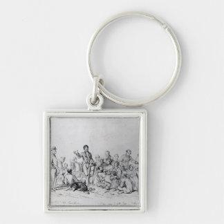 The Field Preacher, 1837 Silver-Colored Square Keychain