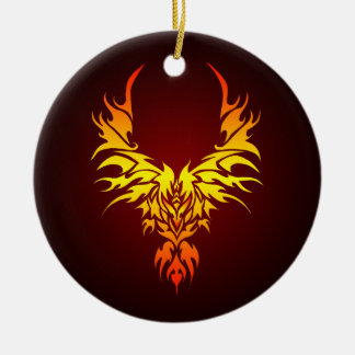 The Fiery Phoenix Double-Sided Ceramic Round Christmas Ornament