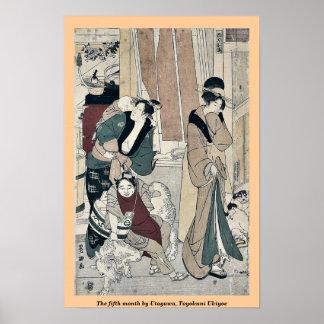 The fifth month by Utagawa, Toyokuni Ukiyoe Print