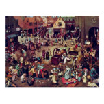 The Fight Between Carnival And Lent,  By Bruegel Postcard
