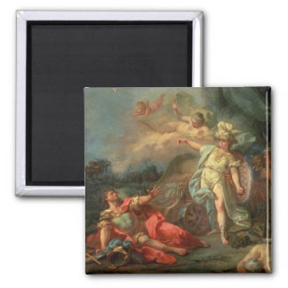 The fight between Mars and Minerva, 1771 (oil on c 2 Inch Square Magnet