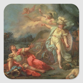 The fight between Mars and Minerva, 1771 (oil on c Square Sticker