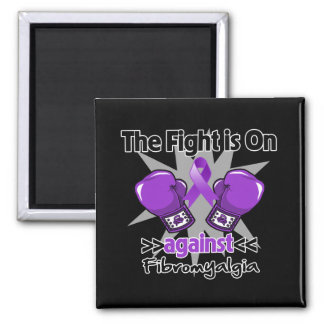 The Fight is On Against Fibromyalgia 2 Inch Square Magnet