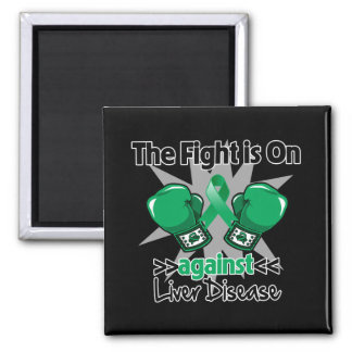 The Fight is On Against Liver Disease 2 Inch Square Magnet