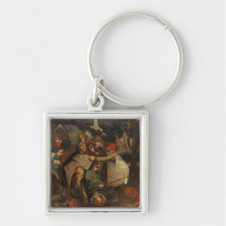 The Fight of the Blind Men, 1643 Silver-Colored Square Keychain