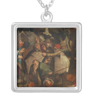 The Fight of the Blind Men, 1643 Silver Plated Necklace