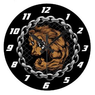 The fighting bear large clock