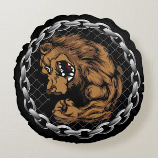 The fighting bear round pillow