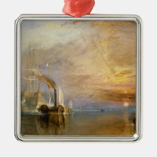 """The """"Fighting Temeraire"""" Tugged Square Metal Christmas Ornament"""
