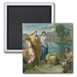 The Finding of Moses, 1638 2 Inch Square Magnet