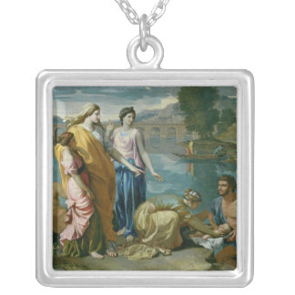 The Finding of Moses, 1638 Square Pendant Necklace