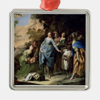 The Finding of Moses, c.1650-56 (oil on canvas) Square Metal Christmas Ornament