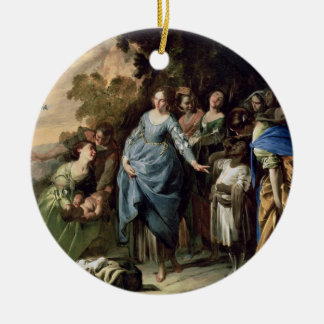 The Finding of Moses, c.1650-56 (oil on canvas) Double-Sided Ceramic Round Christmas Ornament