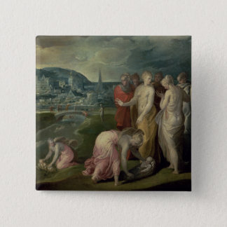 The Finding of Moses (oil on canvas) Button