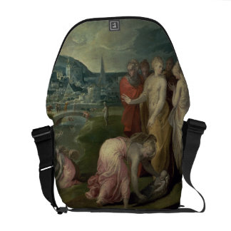 The Finding of Moses oil on canvas Messenger Bag