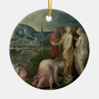 The Finding of Moses (oil on canvas) Double-Sided Ceramic Round Christmas Ornament