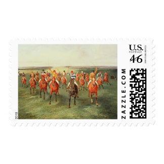 The Finish of the Two Thousand Guineas at Newmarke Postage Stamp