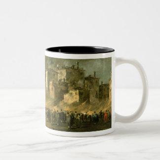The Fire at San Marcuola (oil on canvas) Two-Tone Coffee Mug