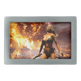the fire goddess rectangular belt buckle