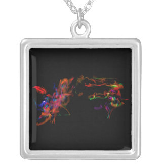 The Fire Horse Vs The Rainbow Dragon Silver Plated Necklace