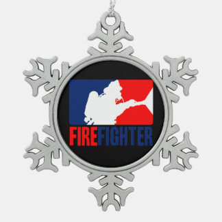 The Firefighter Headliner in Tri-colors Snowflake Pewter Christmas Ornament