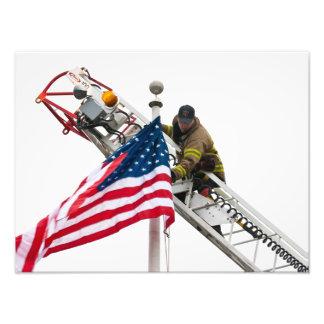 The Fireman and the Flag photograph Photographic Print