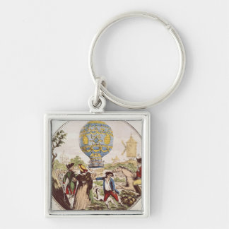 The First Aerial Voyage by Monsieur Francois Silver-Colored Square Keychain