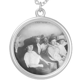 The First All Woman Jury in Las Angeles from 1911 Round Pendant Necklace
