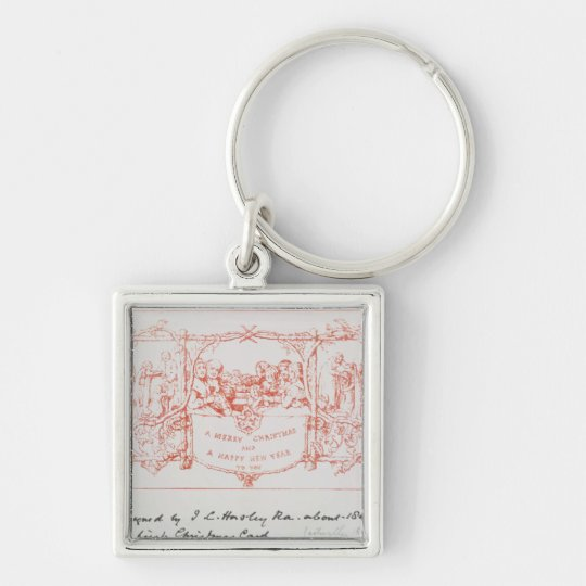 The first Christmas card, by J.C.Horsley, 1843 Keychain