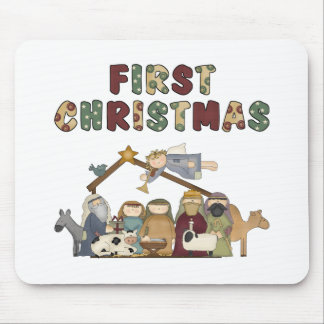 The First Christmas Nativity Scene Mouse Pad