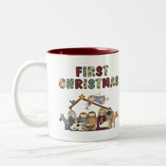 The First Christmas Nativity Scene Two-Tone Coffee Mug