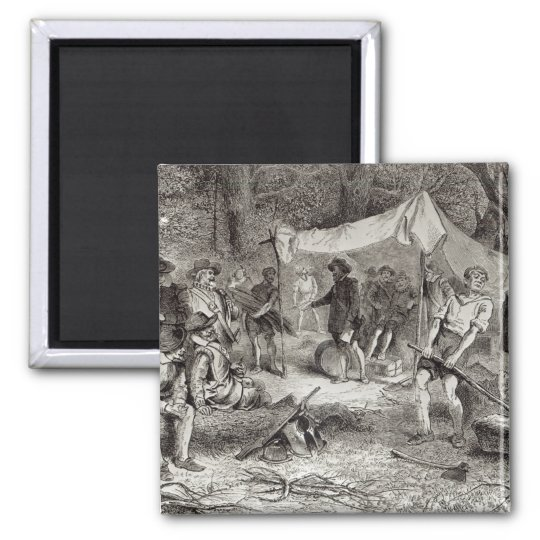The First Day at Jamestown 2 Inch Square Magnet
