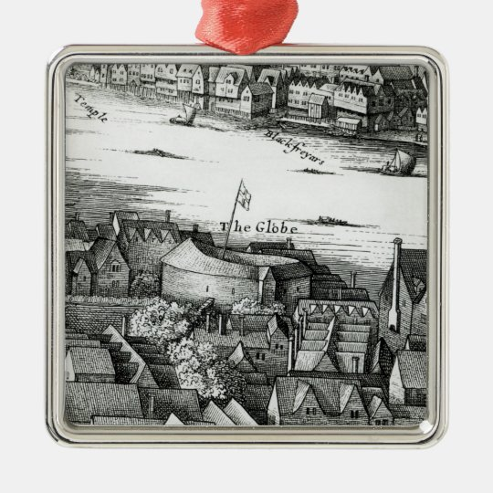 The First Globe Theatre or Rose Theatre Metal Ornament