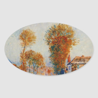 The First Hoarfrost by Alfred Sisley Oval Sticker
