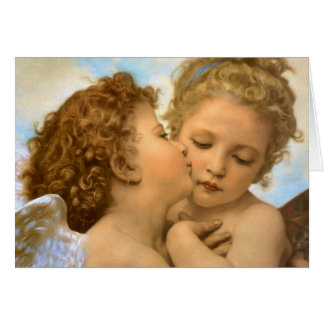 The First Kiss by Bouguereau, Vintage Angels Card